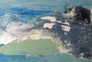 Waterline, olja på pannå, 15x21 cm, 2016, 1200 kr