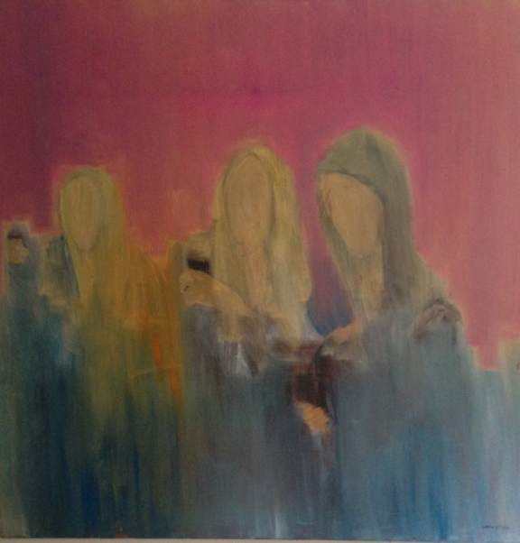 Destined for greatness beyond our bodies, olja på duk, 100x100 cm, 2014, 13000 kr