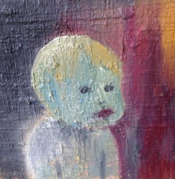 Baby, olja på duk, 30x30 cm, 2014, 4000 kr