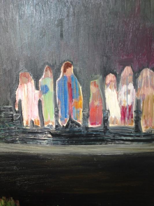 Med barnen, oja på duk, 50x70, cm, 2015, 9000 kr