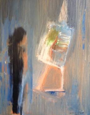 Mitt jobb, olja på pannå, 17x24 cm, 2016, 1500 kr