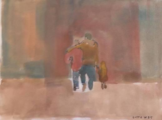 Trygghet, akvarell, 21x17 cm, 2016, 800 kr